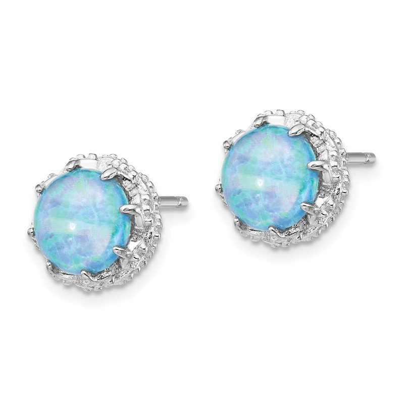 Cheryl M Cheryl M Sterling Silver Rhodium Plated Created Blue Opal Stud Earrings