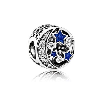 Vintage Night Sky Charm, Shimmering Midnight Blue Enamel Clear Cz