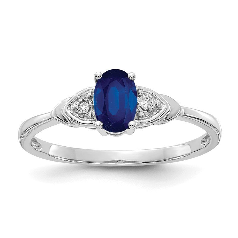 Quality Gold 14k White Gold Sapphire and Diamond Ring