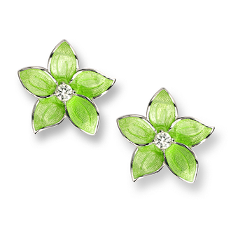 Sterling Silver Stephanotis Floral Stud Earrings-Green. White Topaz.