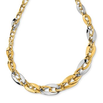 14K Two-tone Polished Fancy Double Curb Link Graduated Necklace