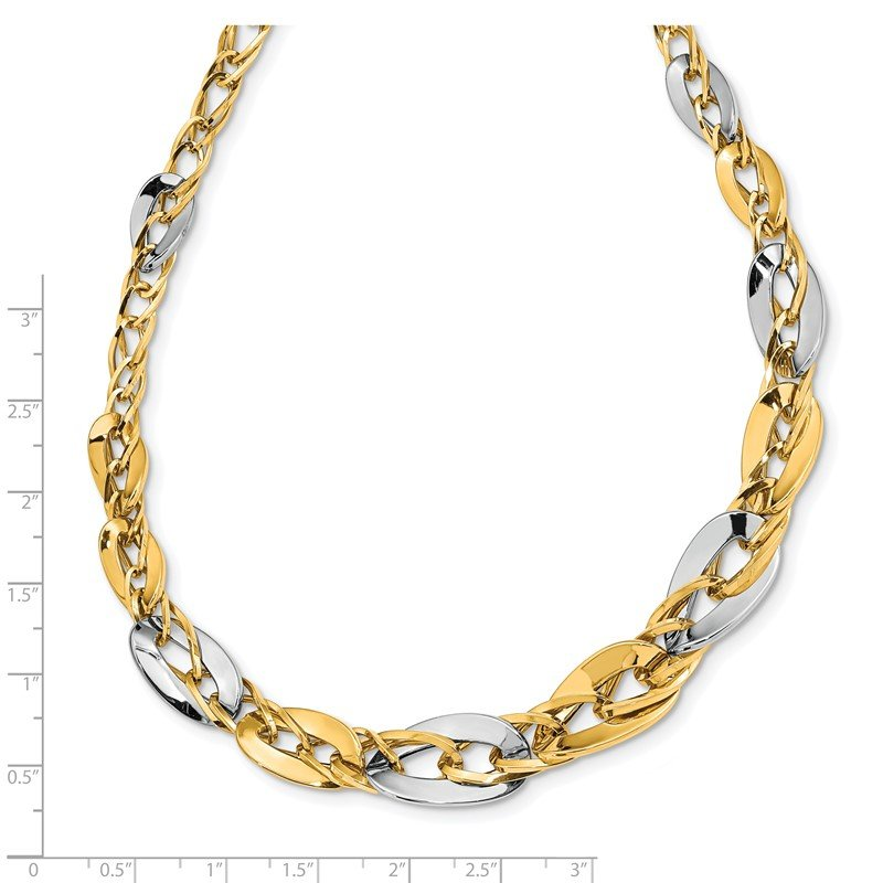 Quality Gold 14K Two-tone Polished Fancy Double Curb Link Graduated Necklace