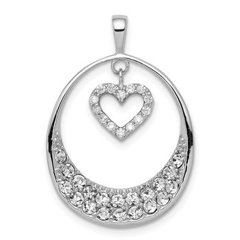 Sterling Silver Rhodium-plated CZ Oval w/Dangle Heart Pendant