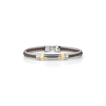 Grey Cable & Brown Leather Striped Bracelet with Steel & 18kt Yellow Gold Station