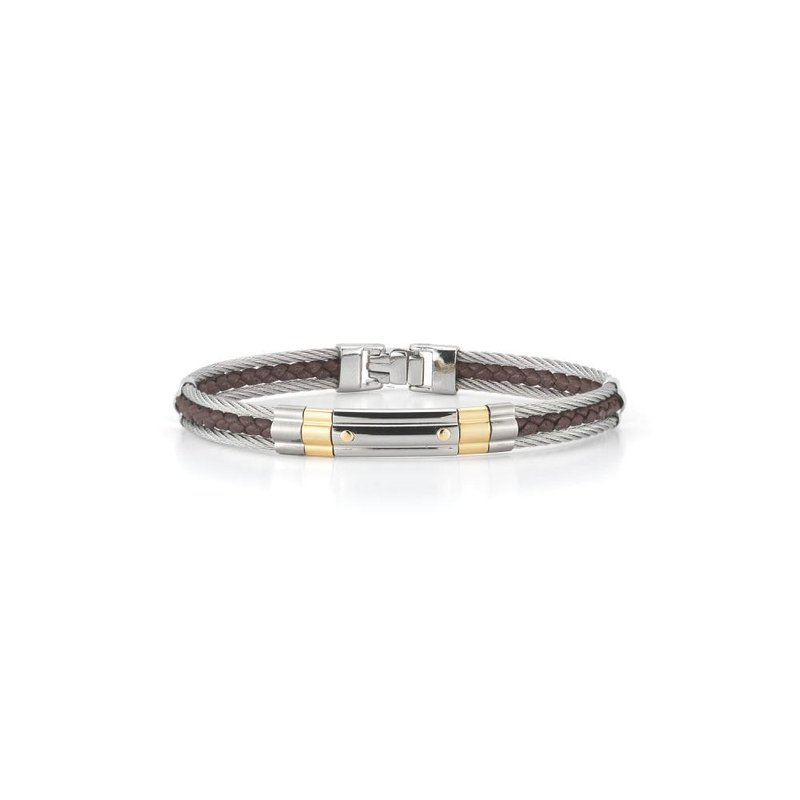 ALOR Grey Cable & Brown Leather Striped Bracelet with Steel & 18kt Yellow Gold Station
