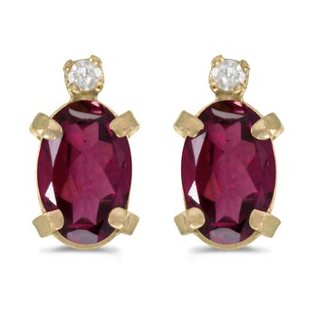 14k Yellow Gold Oval Rhodolite Garnet And Diamond Earrings