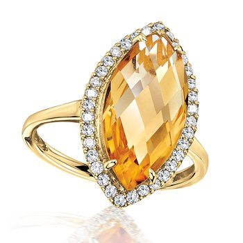 Marquise Citrine & Diamond Statement Ring in 14K Yellow Gold