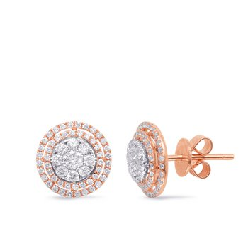 White & Rose Gold Diamond Earring