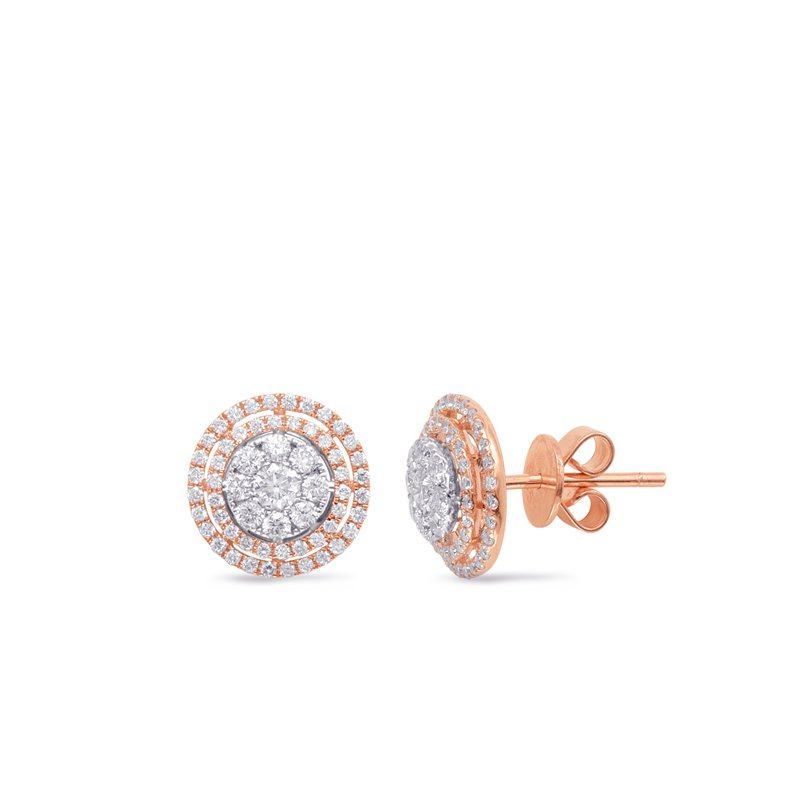 S. Kashi  & Sons White & Rose Gold Diamond Earring