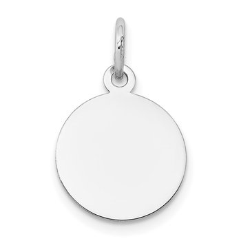 14K White Gold Round Disc Charm