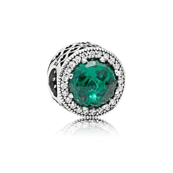 Radiant Hearts Charm, Sea Green Crystals Clear Cz