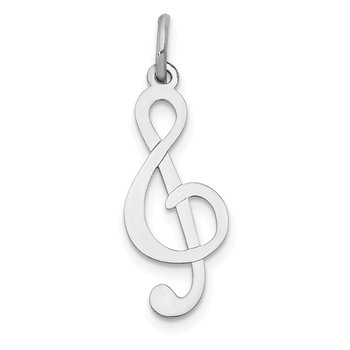 14k White Gold Polished Treble Clef Charm