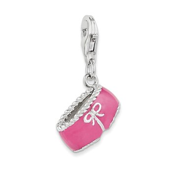 Sterling Silver RH Pink Enameled 3D Bikini Bottom Charm
