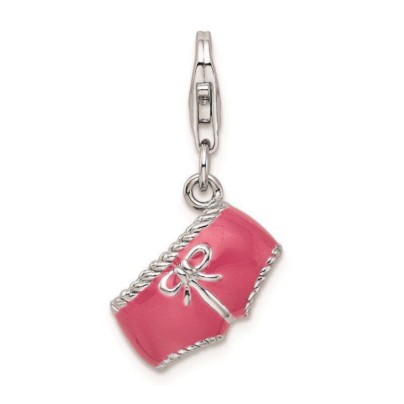 Quality Gold Sterling Silver RH Pink Enameled 3D Bikini Bottom Charm