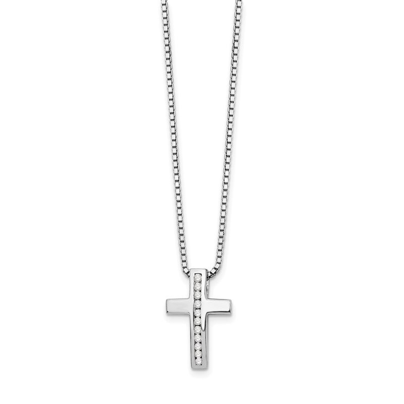 Quality Gold SS White Ice Diamond Cross Slide Pendant Necklace
