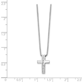 SS White Ice Diamond Cross Slide Pendant Necklace
