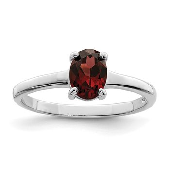 Sterling Silver Rhodium Garnet Ring