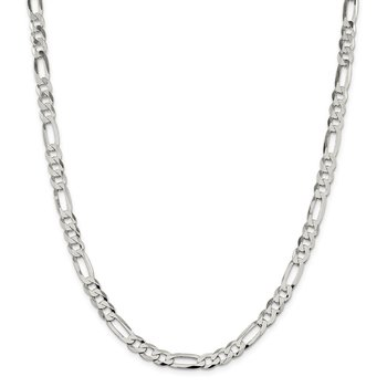 Sterling Silver 7.5mm Lightweight Flat Figaro Chain