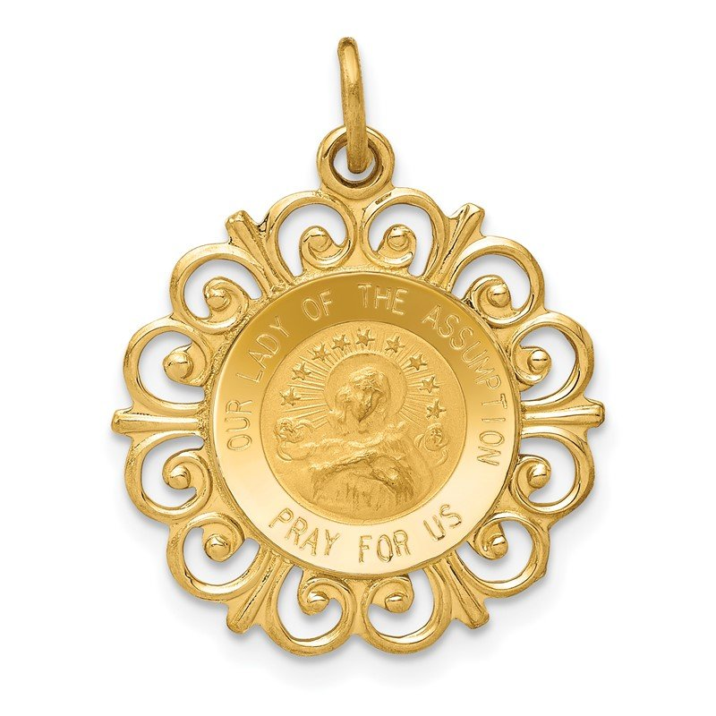 Quality Gold 14k Our Lady Of The Assumption Medal Pendant