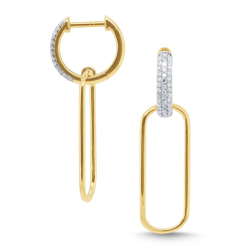 KC Designs 14k Gold and Diamond Paperclip Earrings