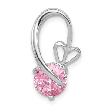 Sterling Silver Rhodium-plated Pink CZ Heart Slide