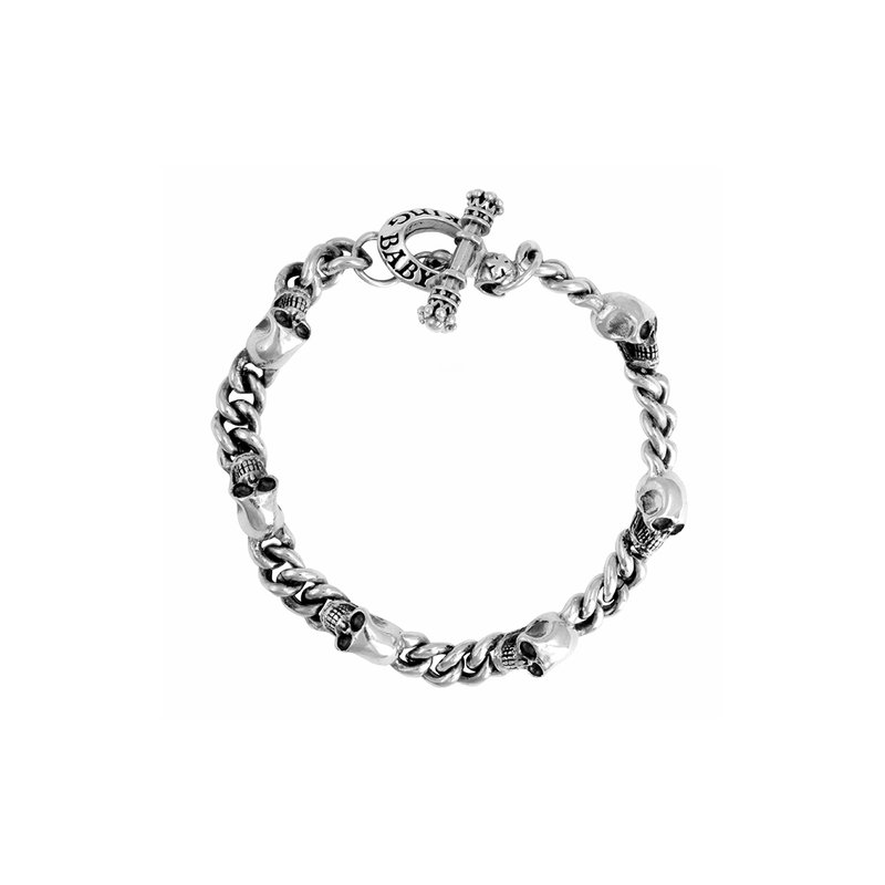 King Baby 2Mm Chain Bracelet W/ Integrated Skulls
