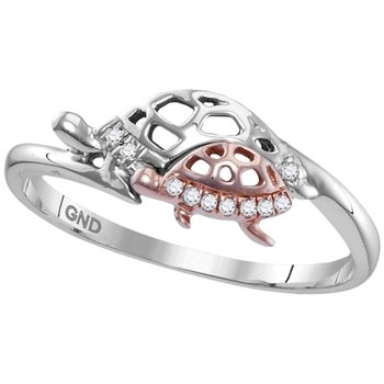 Sterling Silver Womens Round Diamond Rose Turtle Animal Band Ring 1/20 Cttw