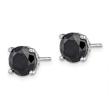 Sterling Silver Rhodium-plated Black Sapphire Post Earrings