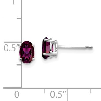 14k White Gold 6x4mm Oval Rhodolite Garnet Earrings