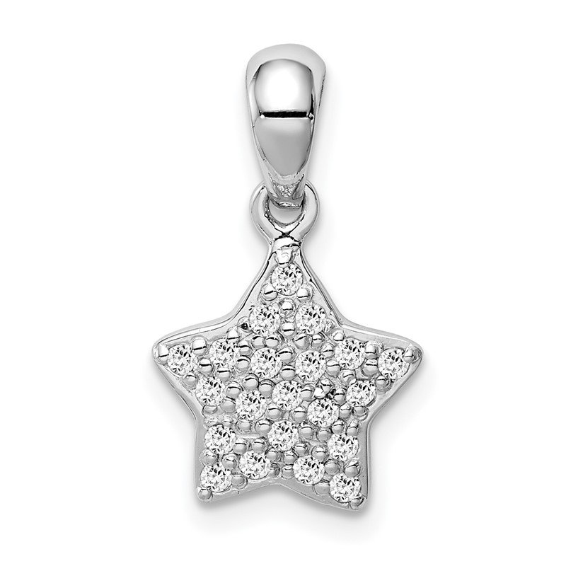 Quality Gold Sterling Silver Rhodium-plated CZ Star Pendant