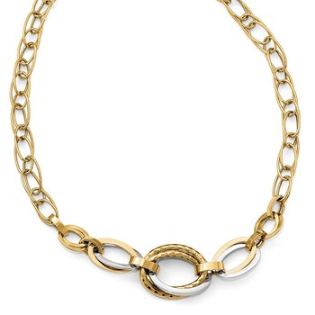 Leslie's 14k Two-tone Polished Link Necklace