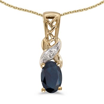 14k Yellow Gold Oval Sapphire And Diamond Pendant