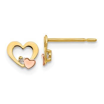 14k Yellow & Rose Gold Madi K CZ Children's Heart Post Earrings