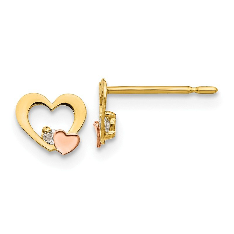 Quality Gold 14k Yellow & Rose Gold Madi K CZ Children's Heart Post Earrings