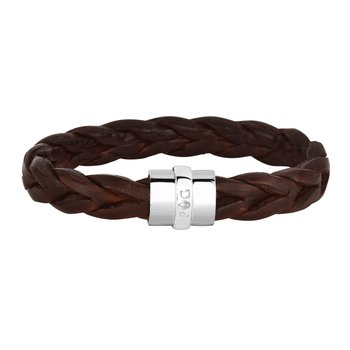 Sterling Silver Men's Large Leather Bracelet