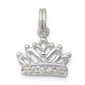 Sterling Silver CZ Polished Crown Charm