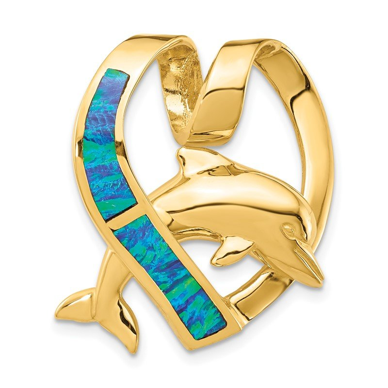 Quality Gold 14k Polished w/Imitation Blue Opal Heart w/Dolphin Slide