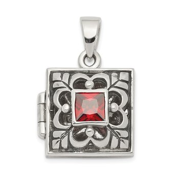 Sterling Silver Rhodium-plated Antiqued Garnet Square 16mm Locket