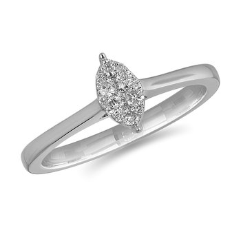 14K WG and diamond Marquise composite head and plain shank ring in pressure setting