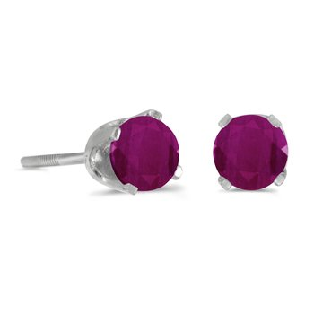 4 mm Round Ruby Screw-back Stud Earrings in 14k White Gold