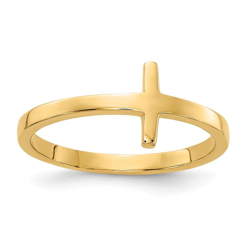 Quality Gold 14k Sideways Cross Ring