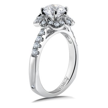 Halo Engagement Ring Mounting in 14K White Gold with Platinum Head (.34 ct. tw.)