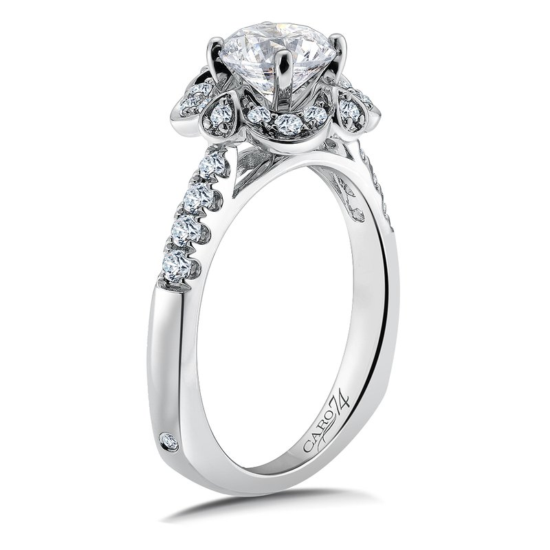 Caro74 Halo Engagement Ring Mounting in 14K White Gold with Platinum Head (.34 ct. tw.)