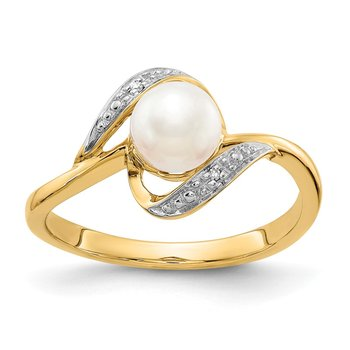 14k Diamond and FW Cultured Pearl Ring