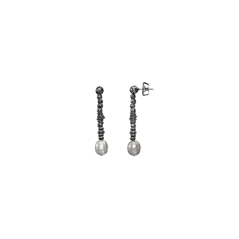 Honora Honora Sterling Silver 9.5-10mm Ringed Black Freshwater Cultured Pearl Ruthenium Bead Drop Earrings
