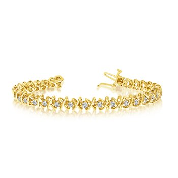 14k Yellow Gold 2 Ct. Diamond XO Tennis Bracelet