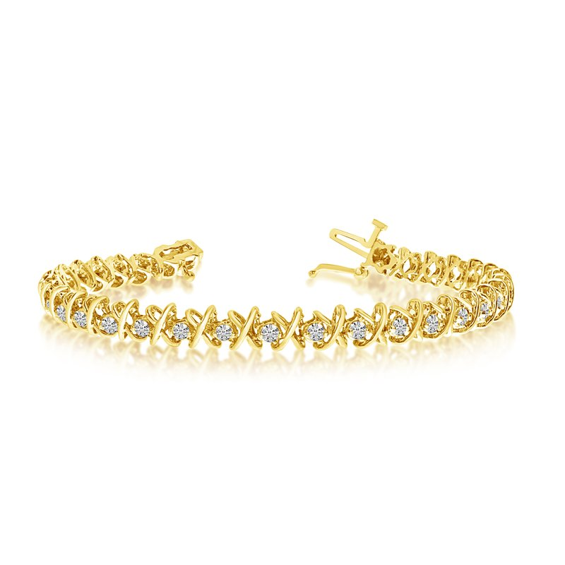 Color Merchants 14k Yellow Gold 2 Ct. Diamond XO Tennis Bracelet