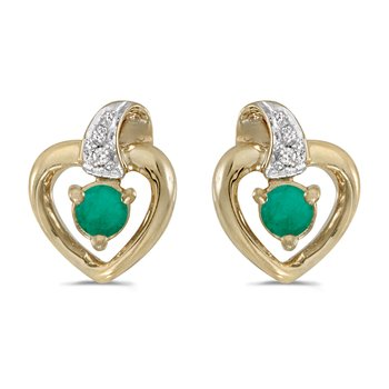 10k Yellow Gold Round Emerald And Diamond Heart Earrings
