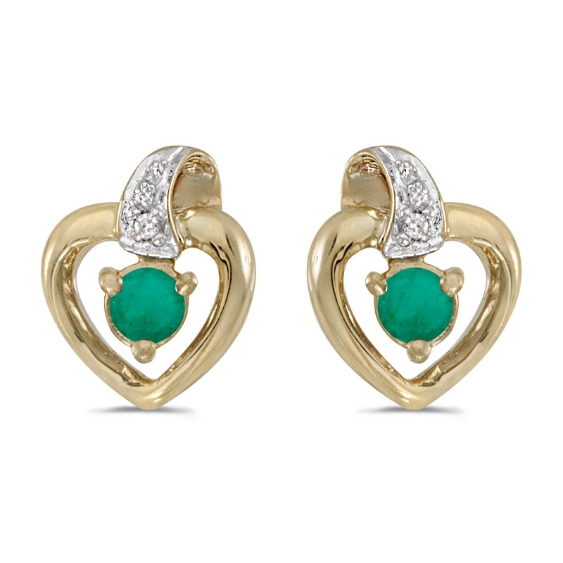 Color Merchants 10k Yellow Gold Round Emerald And Diamond Heart Earrings