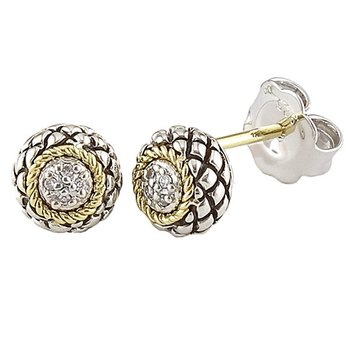 18kt and Sterling Silver Diamond Stud Earrings